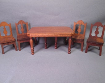 Strombecker Dollhouse  Dining Room Furniture - Walnut Table and 4 Chairs - 1936