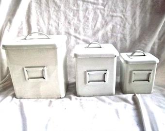 Vintage Enameled Metal Home or Office Pocket Naming Slot Set of Three Home or Office Utility Decor Vintage Metal Storage Enameled Tins Set