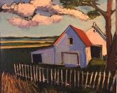 """Peace Day - Original Acrylic Oil Encaustic Landscape  Painting - 18""""x 18"""""""
