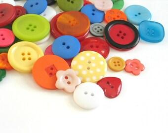 50 x Mixed Craft Buttons, Sewing Buttons, Mixed Button Sizes, Button Assortment Scrapbook Buttons, Polka Dot Buttons, Batch 002