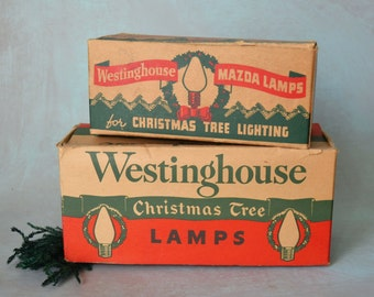 Vintage Westinghouse Mazda Christmas Tree Lamps Boxes Only for Display