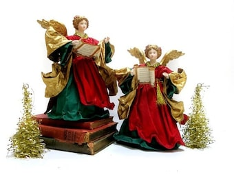 Vintage Cloth Mache Christmas Angel Handmade Porcelain Head Hands Red Green Gold Highlights 1990s
