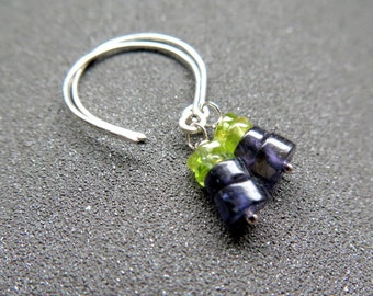 blue iolite and peridot earrings. natural stone jewellery. sterling silver dangle earings