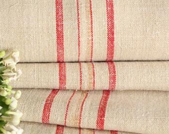 P 471 antique hemp linen roll 14.53 yards RED CARAMELL grainsack fabric wedding 20.08 wide decor lin