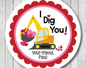 I Dig You Stickers, Valentine Construction Labels, Personalized I Dig You Valentine Tags