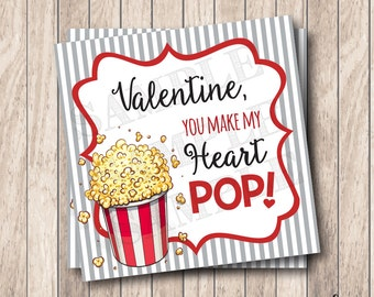 Instant Download Valentine You Make My Heart Pop Tag, Printable Valentine Popcorn Tags, Valentine Labels