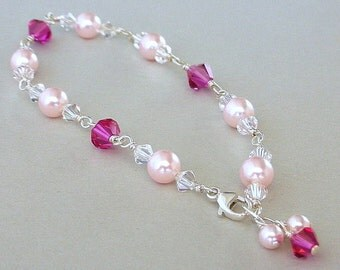 Pink pearl and crystal bracelet, Swarovski fuchsia and rosaline pearls, sterling silver wire wrapped, bridal elegance, birthday gift for her