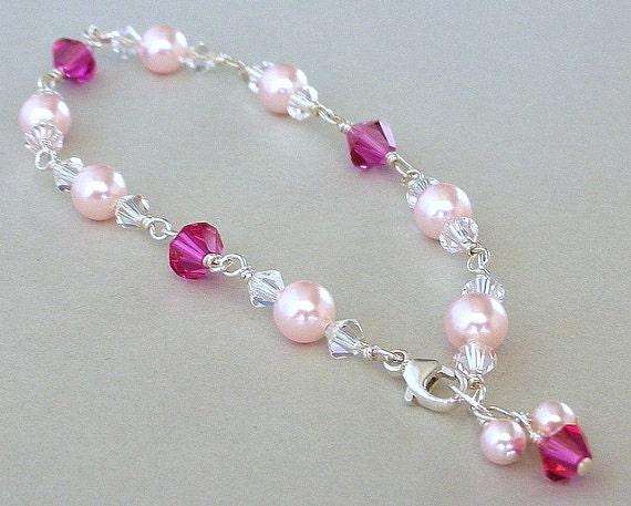 Pink pearl crystal bracelet, Mother's Day gift, Swarovski fuchsia crystals, rosaline pearls, wire wrapped pink bracelet, bridal elegance