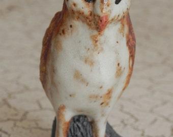 little woodland barn owl on a log figurine miniature statue in rugged stoneware