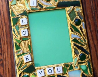 PS I Love You Green Mosaic Picture Frame (holds a 5 x 7 photograph)