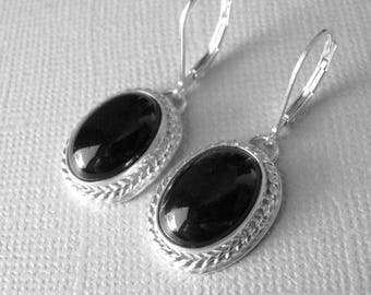 Black Onyx Earrings, Black Onyx Cabochon Sterling Silver Hand Forged Earrings, Smooth Oval Black Onyx Cabochon, Classic Drop Earrings