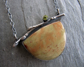 Necklace of Stunning Carrisite, Peridot, and Pussywillow in Steerling Silver