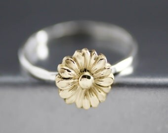 Yellow Sunflower Ring, Flower Stack Ring, Flower Ring, Silver Stack Ring, Sterling Silver, Boho Flower Ring, Hipster Ring, Womens Stack Ring