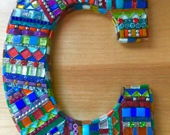 """Mosaic """"bling"""" letter C"""
