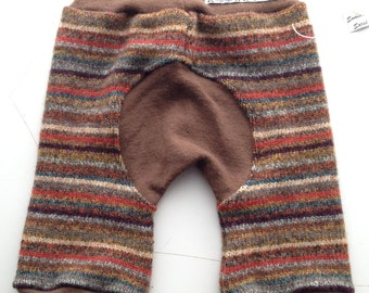 Recycled wool Longies - Recycled Autumn Striped Wool Jecaloones - Mini - 3-12 months