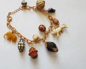 Vintage Upcycle -  Animal and Bead Bracelet