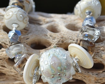 Reserve for Judy-FAITH, HOPE and LOVE-Handmade Lampwork and Sterling Silver Bracelet