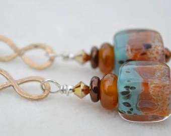 SOUTHERN STORM-Handmade Lampwork and Gold Bronze Earrings