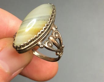 Antique Agate Stone Ring, Russian Ring Sterling Silver 875 and Natural Agate Stone Ring, Antique Banded Agate Ring