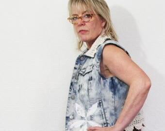 50% SALE upcycled clothing, sleeveless distressed acid wash denim jacket . M - L