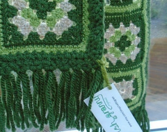 CELTIC granny square scarf handmade crochet shades of green with fawn unique OOAK