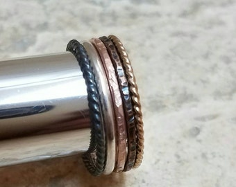 Silver and Gold Stacking Ring Set  in Black Sterling Silver Antiqued Hammered Copper Rose Gold and Gold Twist Five Ring Set BoHo