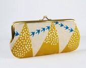 Eyeglass frame purse - Hills in yellow - Long purse / Eyeglass fabric case / Cell phone holder / Echino japanese fabric / pink birds silver