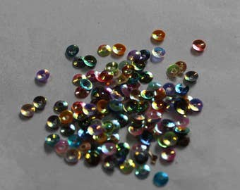 100 Metallic Mixed Rainbow Color/Round Sequins / KRS721