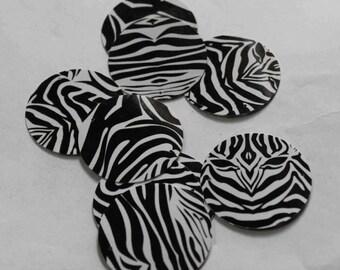 25 Zebra print /Black and White colour/Round Sequins / KRS722