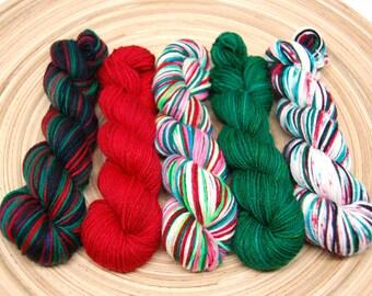 Christmas Mini Skein Kit  - Hardcore Sock Yarn - 460 Yards - Superwash Merino Nylon