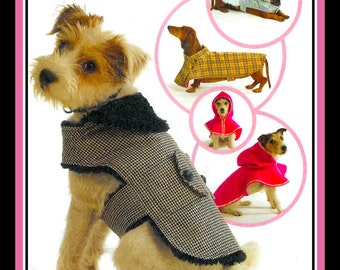 DOGGIE DELIGHTS COATS-Sewing Pattern-Four Stylish Designs-Rain Jacket-Faux Fur Lined- Pockets- Snazzy Design Details-Uncut-All Sizes-Rare