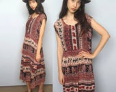 to market -- free-size cotton dress made from vintage indian gauze S/M/L