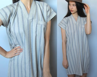 sand and bone -- vintage striped tunic top or mini dress S/M
