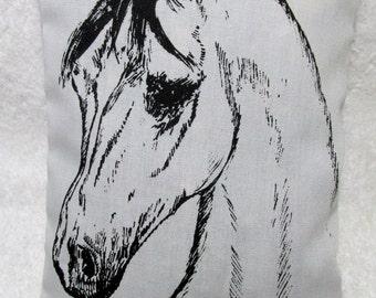 Arabian Horse Art Lavender Rose Filled Sachet Pillow Equestrian Gift Tack Trunk of Horse Trailer Freshener