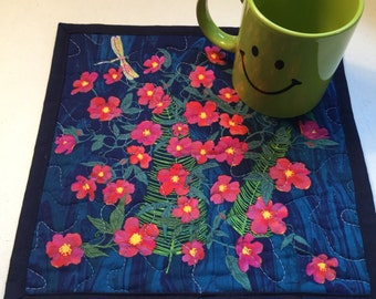 Quilted Blue Floral Mug Rug, Blue Floral Quilted Mini Placemat, Pink Floral Quilted Snack Mat, Floral Coaster