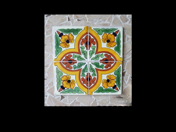 Mosaic Southwestern Wall Hanging or Trivet Made with Mexican Tiles
