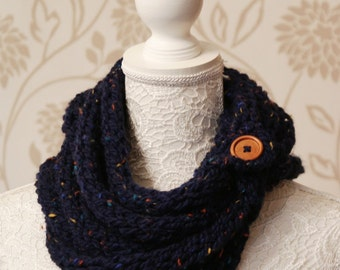 Navy Fleck Knitted Chunky Rope Cowl Neckwarmer Scarf