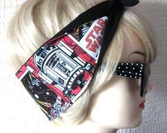 Star Wars Hair Tie Head Scarf by Dolly Cool White Comic Book Strip Marvel DC Boom Pow Zap Superhero
