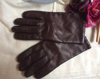 Vintage dark brown leather lined gloves, size 7 1/2 or 8 warm lined brown gloves, wrist length rich brown leather gloves, made Italy gloves