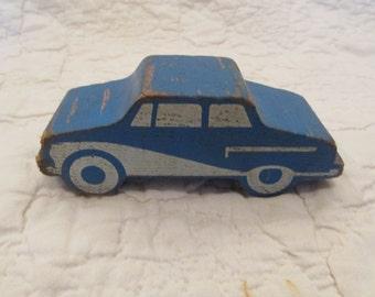 Vintage Wood Toy Car Mid Century Blue SALE
