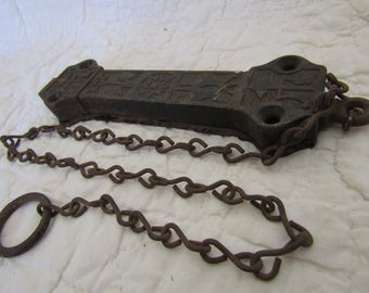 Antique Cast Iron Latch with chain Ornate detail