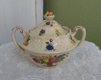 Antique Coalport English China Kingsware Floral Basket Covered Sugar Bowl