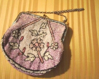 Vintage 1920s Art Deco Beautiful Pink Glass Beaded Flapper Purse as found