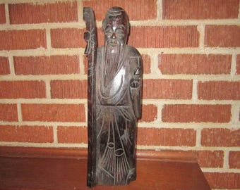 Vintage Wonderful Large Wood Carving of Chinese Immortal