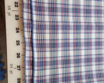 Cotton Blend Plaid Predominately Blue Shirting 2-1/4 yd