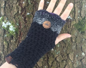 Pixie Mitts OOAK fingerless mitts in black Hemp wool grey purple silk mohair lambswool Forest Fae Woodland Inspired tree branch Button