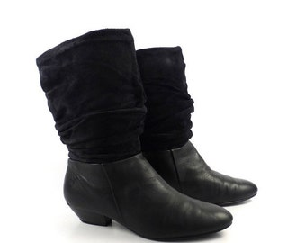 Black Suede Boots Vintage 1980s Leather Newport News Flat Women's size 7 1/2