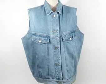Jean vest Vintage 1990s BP Brass Plum Nordstrom Denim Light Blue Women's size L