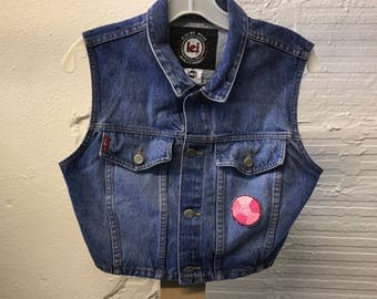Jean Denim vest Vintage 1990s Cotton Blue Lei Cropped Small