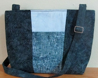 Blue Grey Batik Medium Size Purse With Adjustable Strap